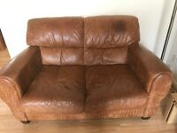 Tan colour Italian leather 2 seater sofa 3 Years old