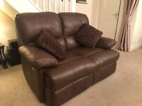 2 x 2 seater sofa brown leather recliner