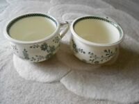 2 X MATCHING CHAMBER POTS ANTIQUE CREAM AND GREEN DESIGN. PROOF OF YEAR MADE IMMACULATE