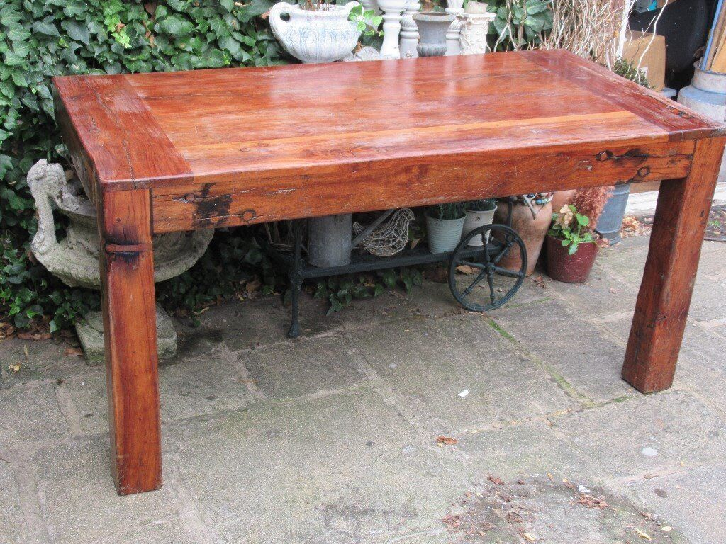 Rustic Solid Wood Chunky Console Table Hall Table Wall Attached