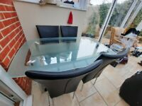 Lovely Glass Dining table and 4 Chairs