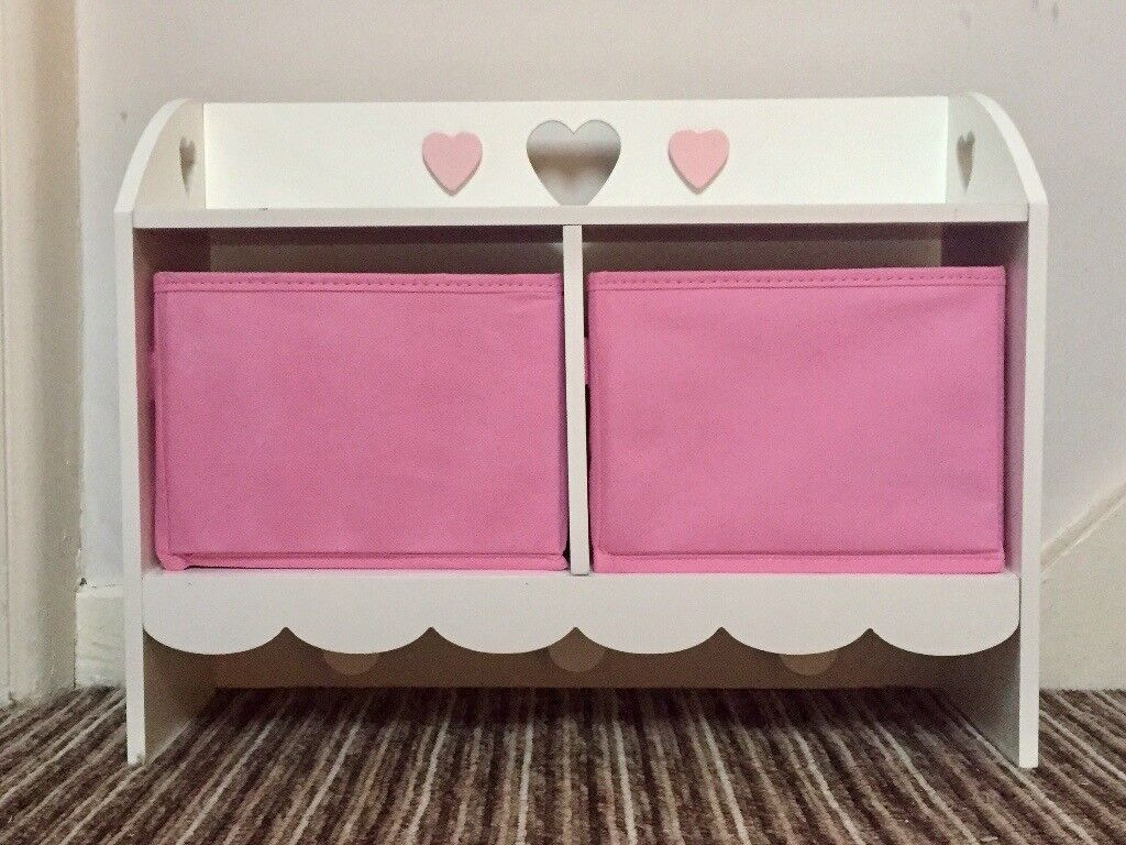Child's Shelf Unit with Hearts, Pink Baskets And Clothes Hooks