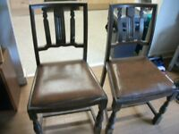 PAIR OF SOLID OAK DINING CHAIRS
