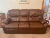 G Plan brown leather suite & 2 x armchairs *read description*