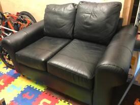 Black 2 seater leather sofa