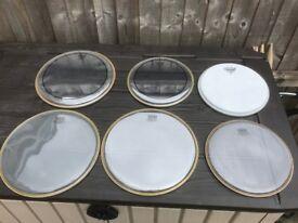Remo unused drum heads x7