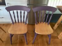 4 rustic wooden chairs in a brilliant state. For sale due to moving house. Collection only.