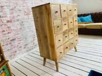 Modern Living Apothecary Large 16-Drawer Hobby Chest Solid Hardwood Mid-Century Style