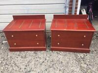 3 brown wood chest of drawers/ bedside tables