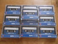 10 Agfa LNX C90 Ferric cassettes - pre-fitted labels - recorded once, now blank & ready to record