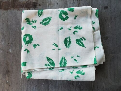"Vintage Midcentury Linen Fabric Abstract Emerald Green Leaf Pattern 78"" x 46"""