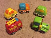 v-tech toot toot car, fire engine, tractor, truck and van