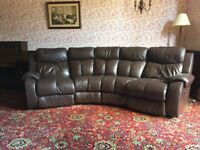 Electric leather recliner corner sofa