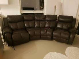 Real Black Leather Sofa Set with Legs Resting DFS