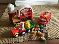 Fisher price little people bundle farm bus & tractor with people and accessories