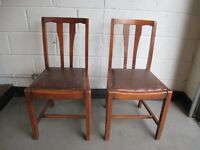 PAIR OF VINTAGE MAHOGANY VENEER DINING CHAIRS WITH LEATHER SEATS FREE DELIVERY