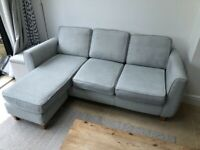 DFS GREY/BLUE LEFT FACING LEATHER CORNER SOFA - MUST GO TODAY TODAY - CHEAP DELIVERY - £350