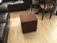 Chocolate suede cube footstool