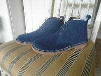 LADIES BLUE LEATHER SUEDE ANKEL BOOTS SIZE 7, NEW IN BOX