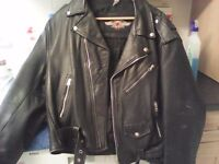 Gents black leather biker jacket with air brushed back piece