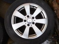 Mercedes Benz 16 inch Alloy Wheels to Suit C class with tyres, no damage in good condition