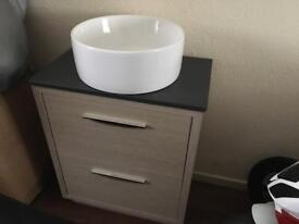 Beautiful 2 draw floor standing cabinet with round basin and worktop