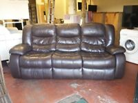 brown leather 3 seater fully reclining sofa