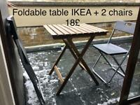 Garden/balcony table + 2 foldable chairs