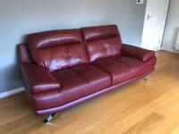 Harveys Red Leather Sofa Suite