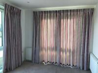 Stripey Hillary's curtains for 2 large windows