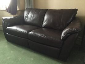 Ikea Brown Leather 3 Seater / Dual Recliner Sofa