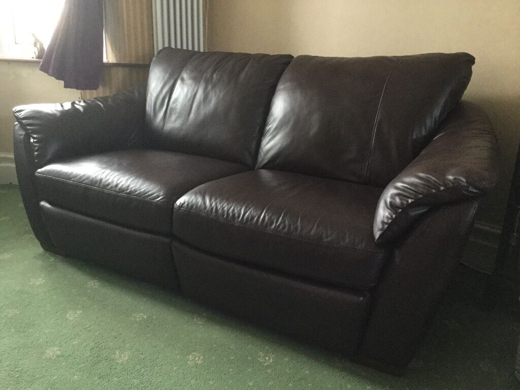 Ikea Brown Leather 3 Seater Dual Recliner Sofa In