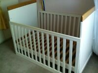 Next cream and wooden Cot / cotbed