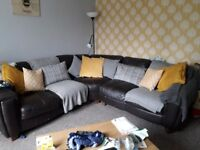 Leather brown corner sofa some wear and tear viewing welcome