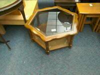 Hexagon wood and glass coffee table #33157 £25