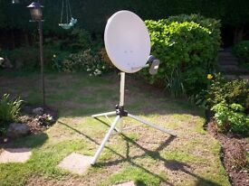 PORTABLE SAT DISH 57cm WITH TRIPOD STAND ETC