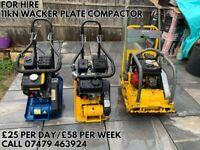 FOR 11kN HIRE WACKER PLATE COMPACTOR 5.5HP 163CC £25 PER DAY/£58 PER WEEK