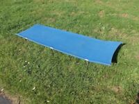 folding camp bed blue canvas and metal frame