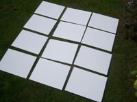 Bathroom tiles. Plain glossy white. 330mm x 250mm. 8mm thick. Un-used. 12 off