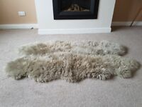 Large Quad Sheepskin Rug - Neutral Grey Colour