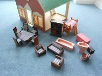 Handmade Wooden Doll's House and Furniture