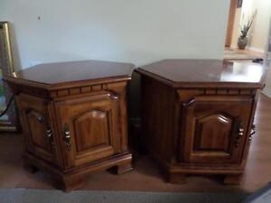 2 solid wooden end tables