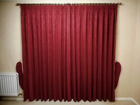 X2 PAIRS OF DAMASK CURTAINS WITH BRUSHED BRASS POLES, RINGS, FITTINGS & TIE-BACKS (or sell separate)