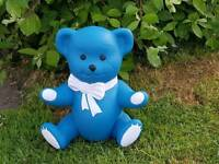 Teddy ; blue /white , stone garden ornament