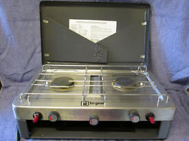 Gelert Hi-Gear Portable gas camping stove, very good condition, 2 burners + grill
