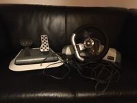 Xbox 360 original steering wheel and pedals with clamp