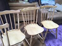 Four Solid Light Oak Dinning Chairs