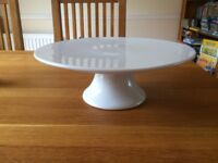 Pampered Chef White Cake Stand with removable base for easy storage