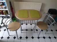 DINING SET / TABLE WITH 2 CHAIRS / PLACEMATS