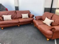 2 x Studded Tan Leather Sofas - 2 & 3 Seater.